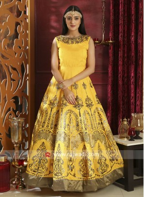 Semi Stitched Designer Silk Gown in Yellow