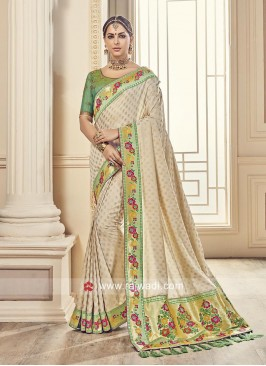 Designer Silk Saree with Tassels