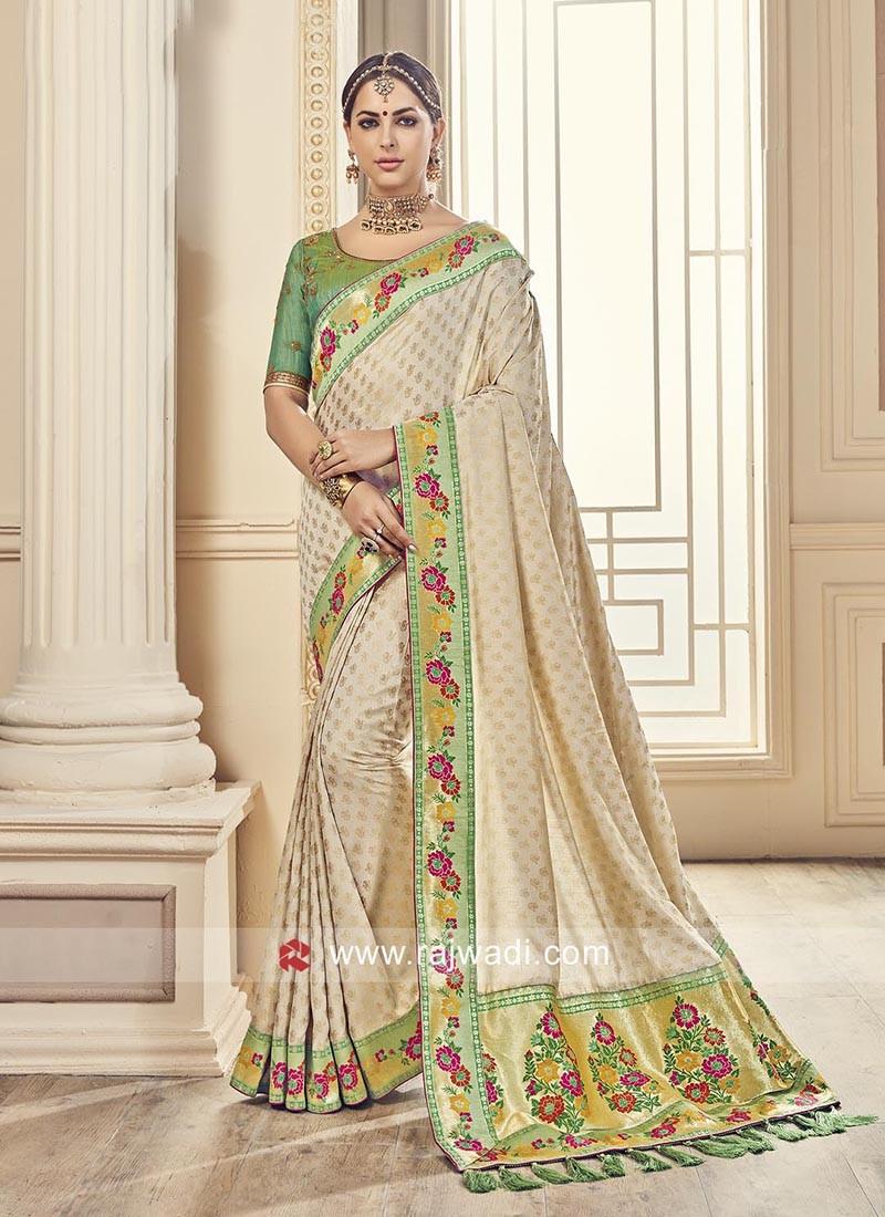 Designer Silk Saree with Tassels