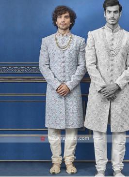 Designer sky blue and cream colour indo-western
