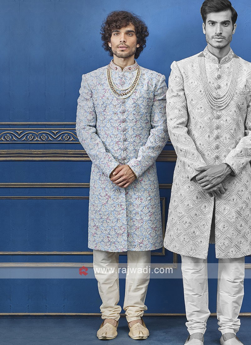 Designer sky blue and cream colour indo-western