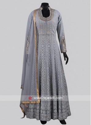 Designer Stand Neck Grey Anarkali Dress