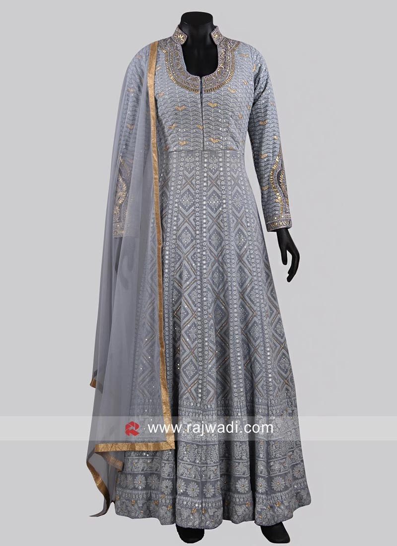 Designer Stand Neck Grey Anarkali Dress