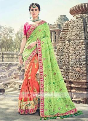 Designer Three Tone Sari with Tassels