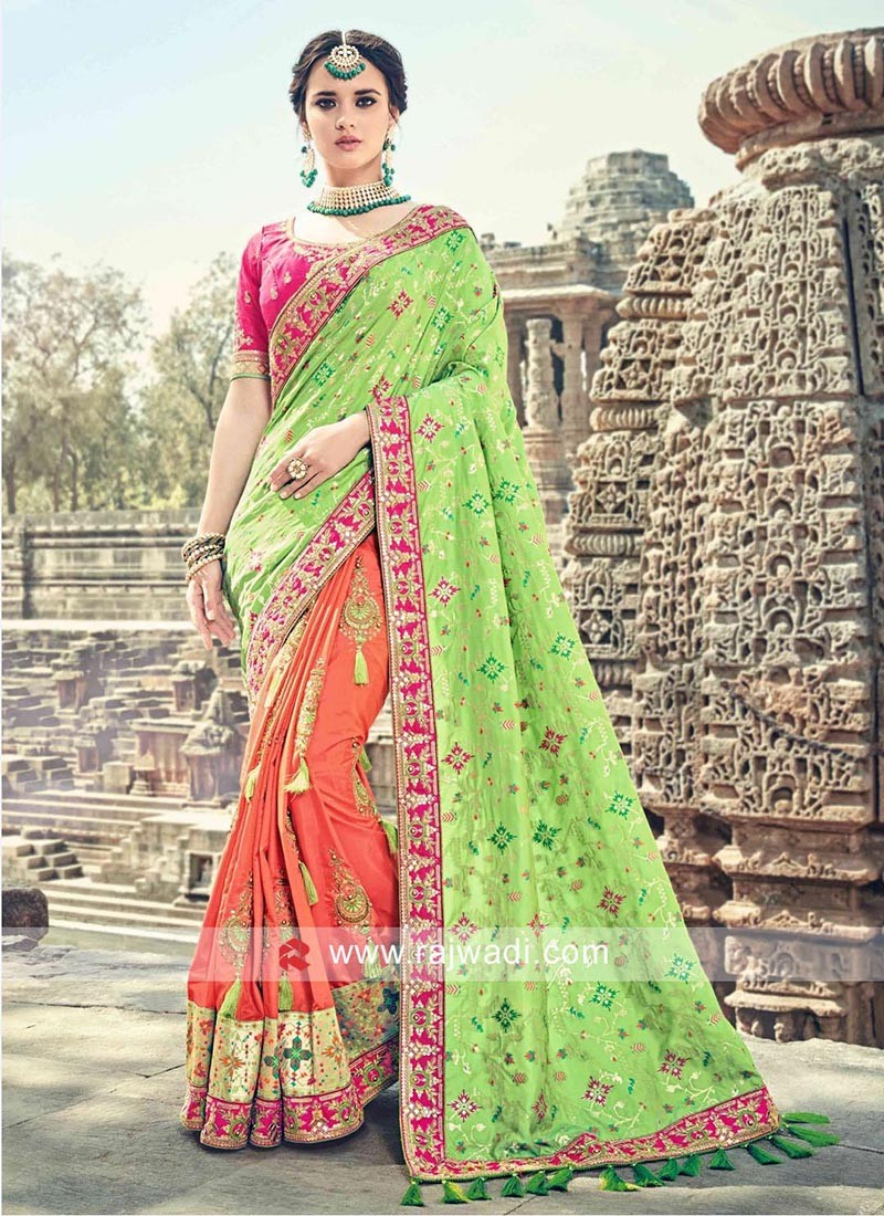 Designer Three Tone Sari with Tassels