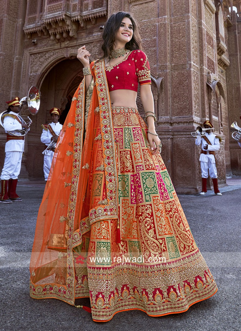 Designer Unstitched Silk Lehenga Choli