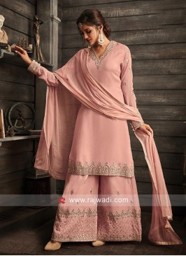 Designer V Neck Gharara Suit in Pink