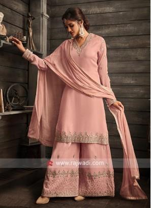 Designer V Neck Gharara Suit in Pink