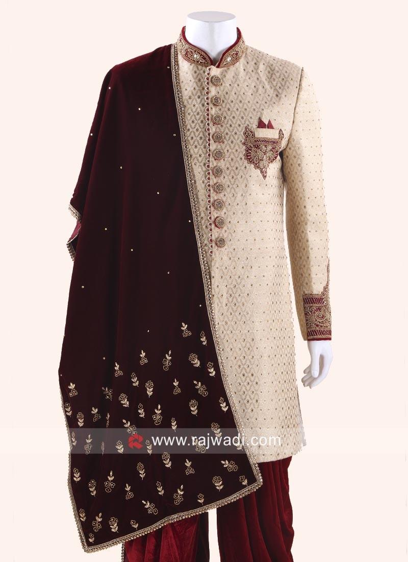 Designer Velvet Dupatta for Men