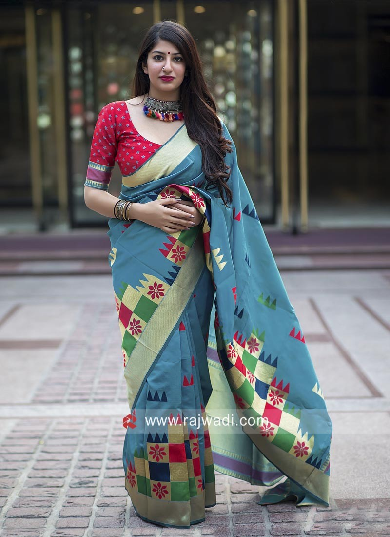 Designer Weaving Saree with Blouse
