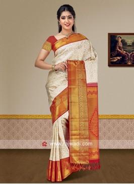 Designer Weaving Saree with Raw Silk Blouse