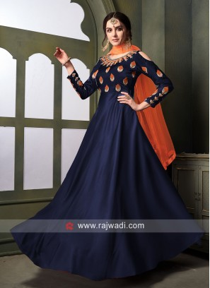Designer Wedding Anarkali Suit in Navy