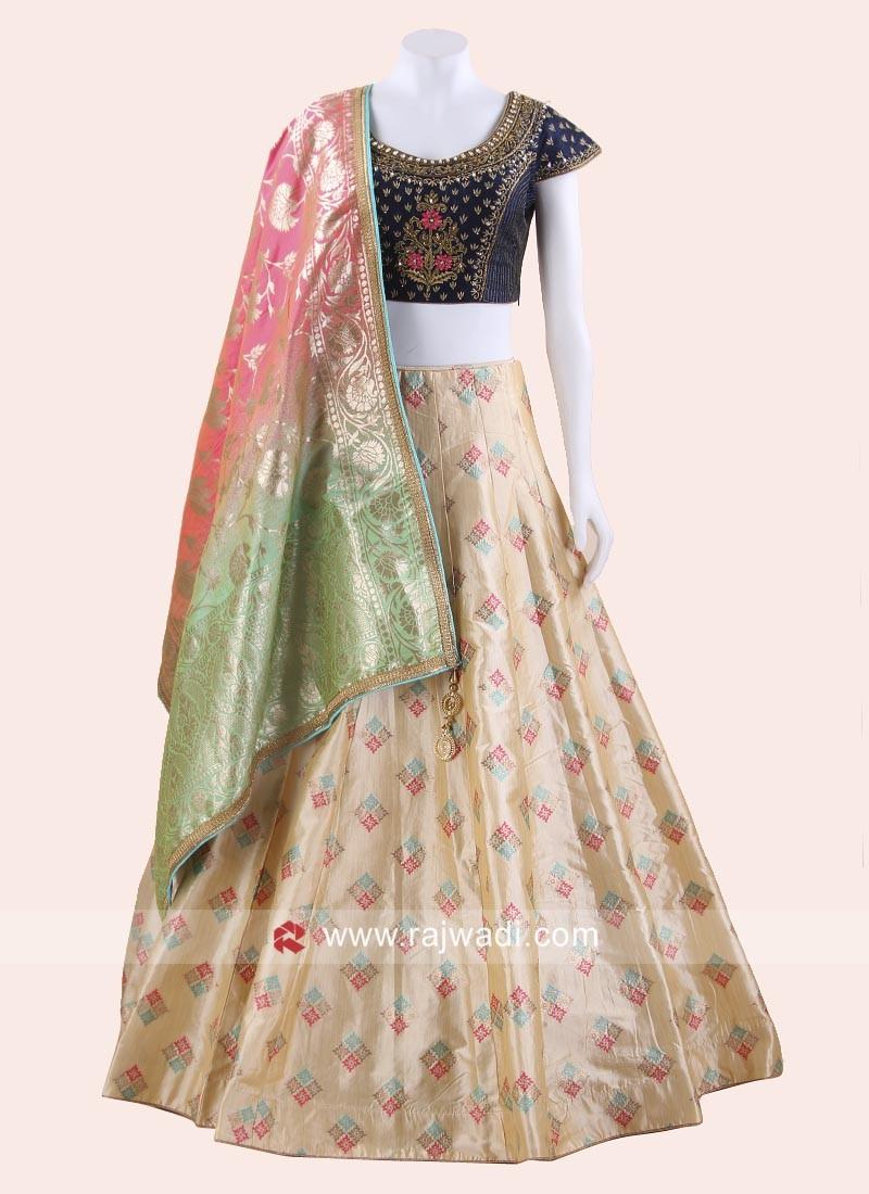 Designer Wedding Brocade Lehenga Choli