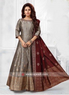 Designer Wedding Cotton Silk Anarkali Suit