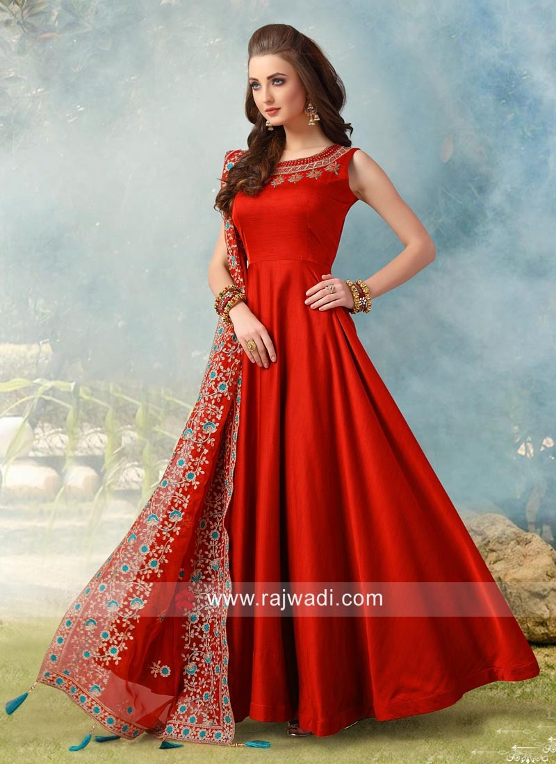 Designer Wedding Crepe Silk Anarkali Suit