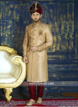 Designer Wedding Golden Sherwani