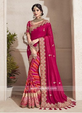 Designer Wedding Half n Half Saree with Tassels