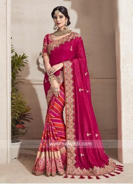 Designer Wedding Half n Half Saree with Tassels