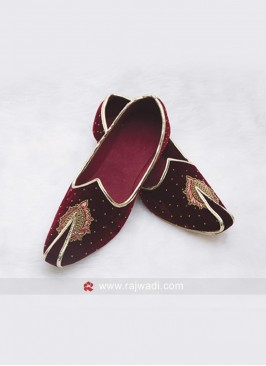 Designer Wedding Mojari in Maroon