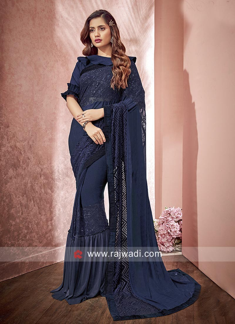 Designer Wedding Saree in Navy Blue