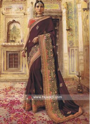 Designer Wedding Saree with Border