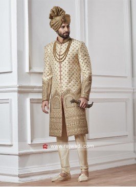Designer Wedding Sherwani In Cream