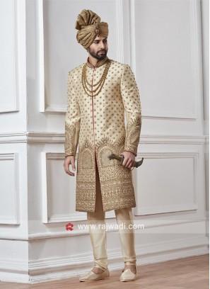 Designer Wedding Sherwani In Cream
