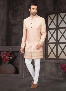 Designer Wedding Wear Light Pink Color  Indo-Western