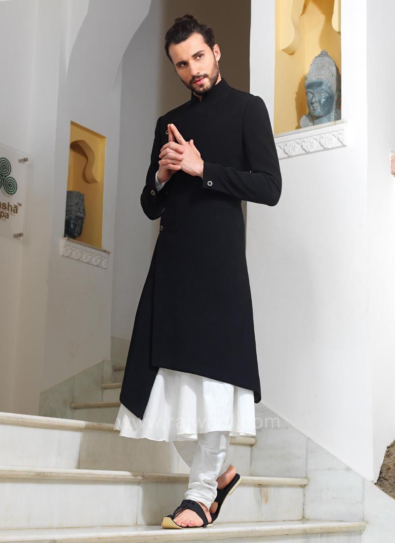 Designer White and Black Color indo Western Sherwani