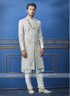 Designer white and sky blue sherwani