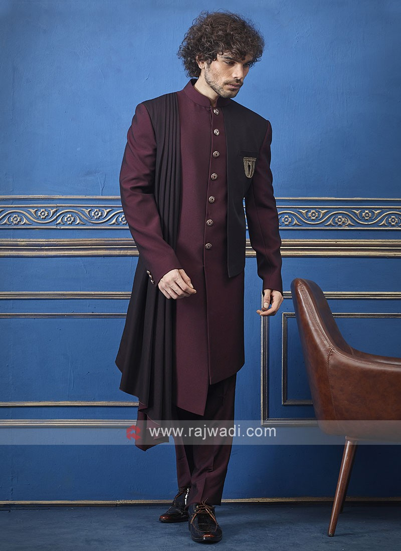 Designer wine colour indo-western with dupatta