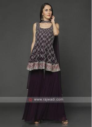 Designer Wine Gharara Suit