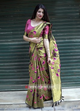 Designer Woven Silk Saree with Blouse