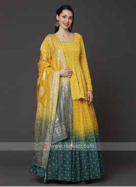 Designer Yellow Choli Suit