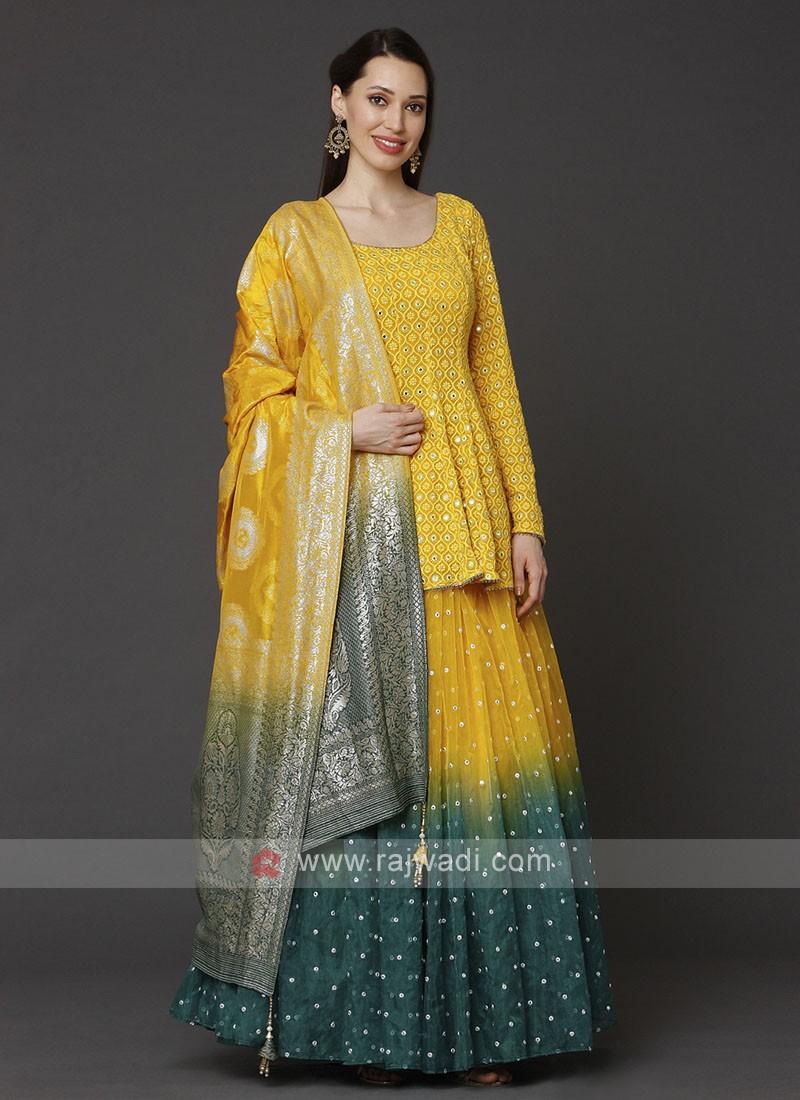 Designer Yellow Choli Suit