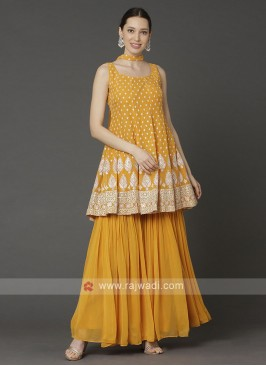 Designer Yellow Color Gharara Suit