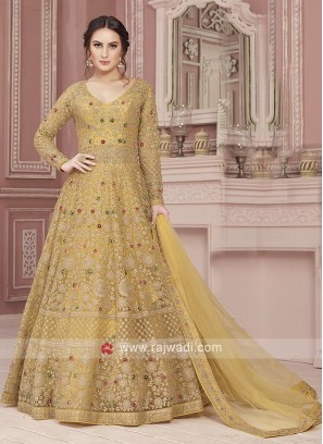 Designer Yellow Net Anarkali Suit