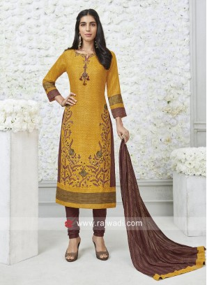 Designer Yellow Salwar Suit with Broach