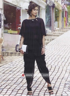 Dhoti Style Black Readymade Suit