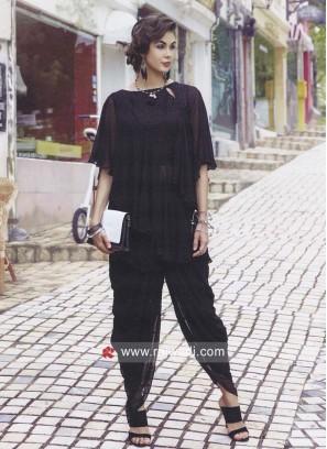Dhoti Style Black Readymade Suit