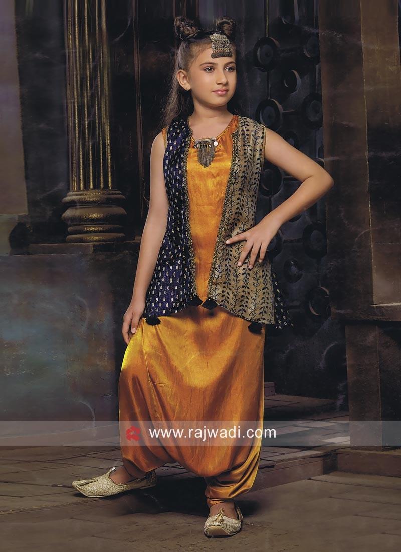 Dhoti Style Kids Suit with Printed Koti