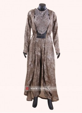 Dhoti Suit in Dark Beige with Jacket