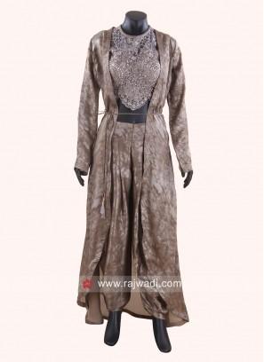 Dhoti Suit in Dark Beige with Jacket