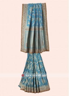 Diamond and Zari Work Banarasi Silk Saree