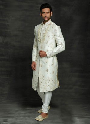 Different Type Sherwani In White Color