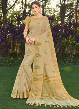 Dignified Silk Beige Embroidered Designer Traditional Saree