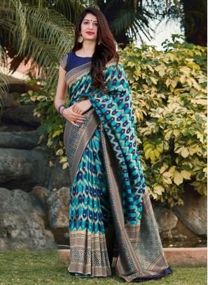 Distinctive Banarasi Silk Blue Weaving Designer Saree