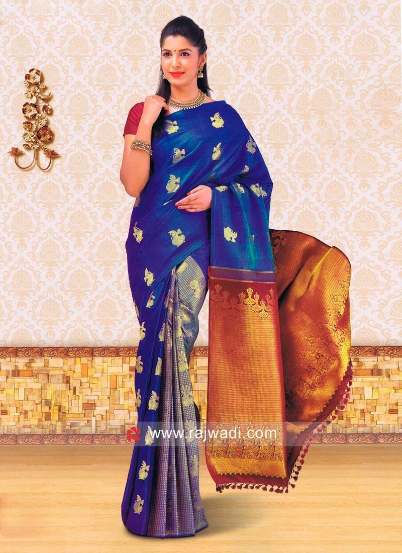 Dodger Blue Woven Saree