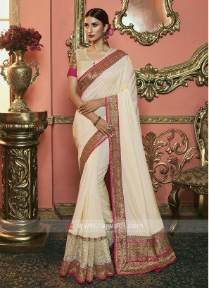 Dola Silk Saree In Cream Color