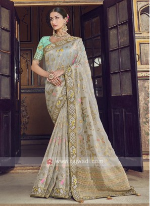 Dola Silk Saree In Grey Color